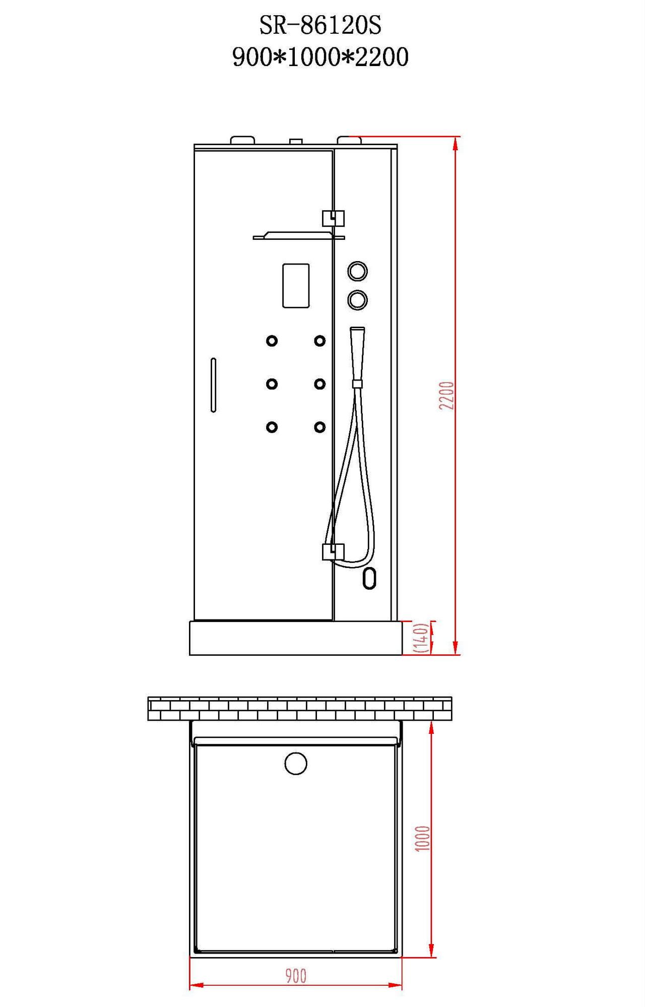 Чертеж душевой кабины Orans SR-86120S