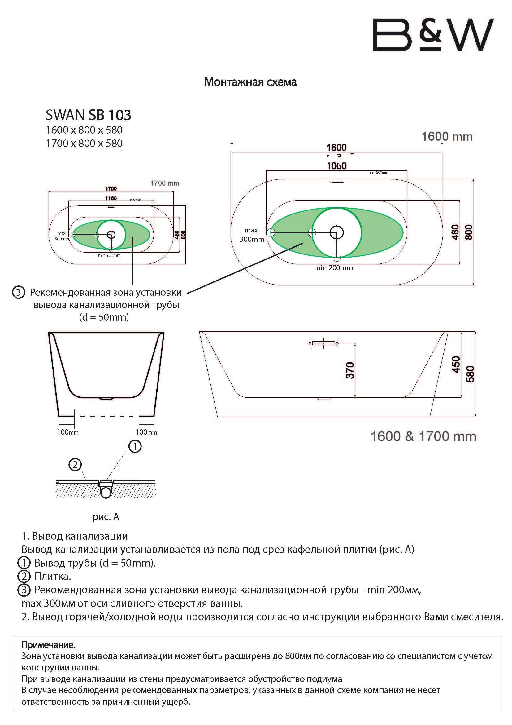 Монтажная схема ванны SB-103
