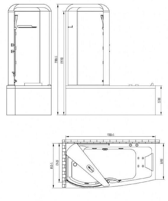 Чертеж акриловая ванна Orans OLS-BT9501 L
